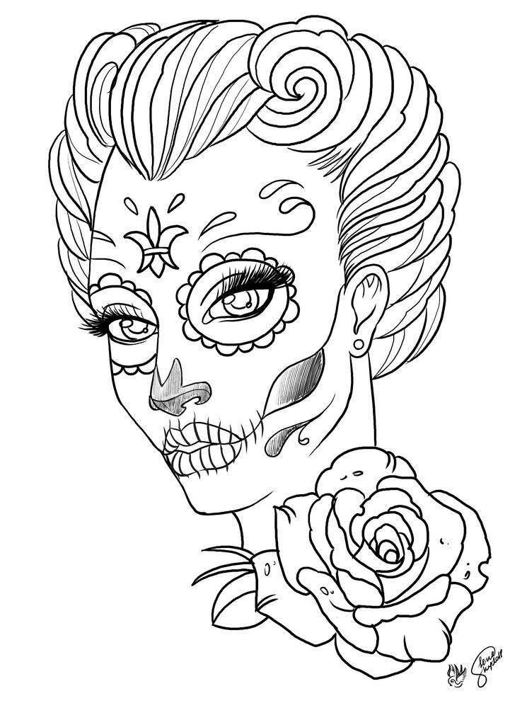 Woman Sugar Skull Coloring Page