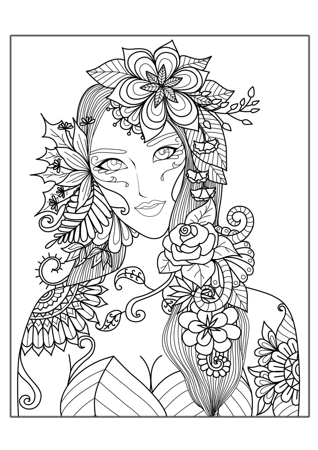 Woman with Flowers Coloring Page for Adults