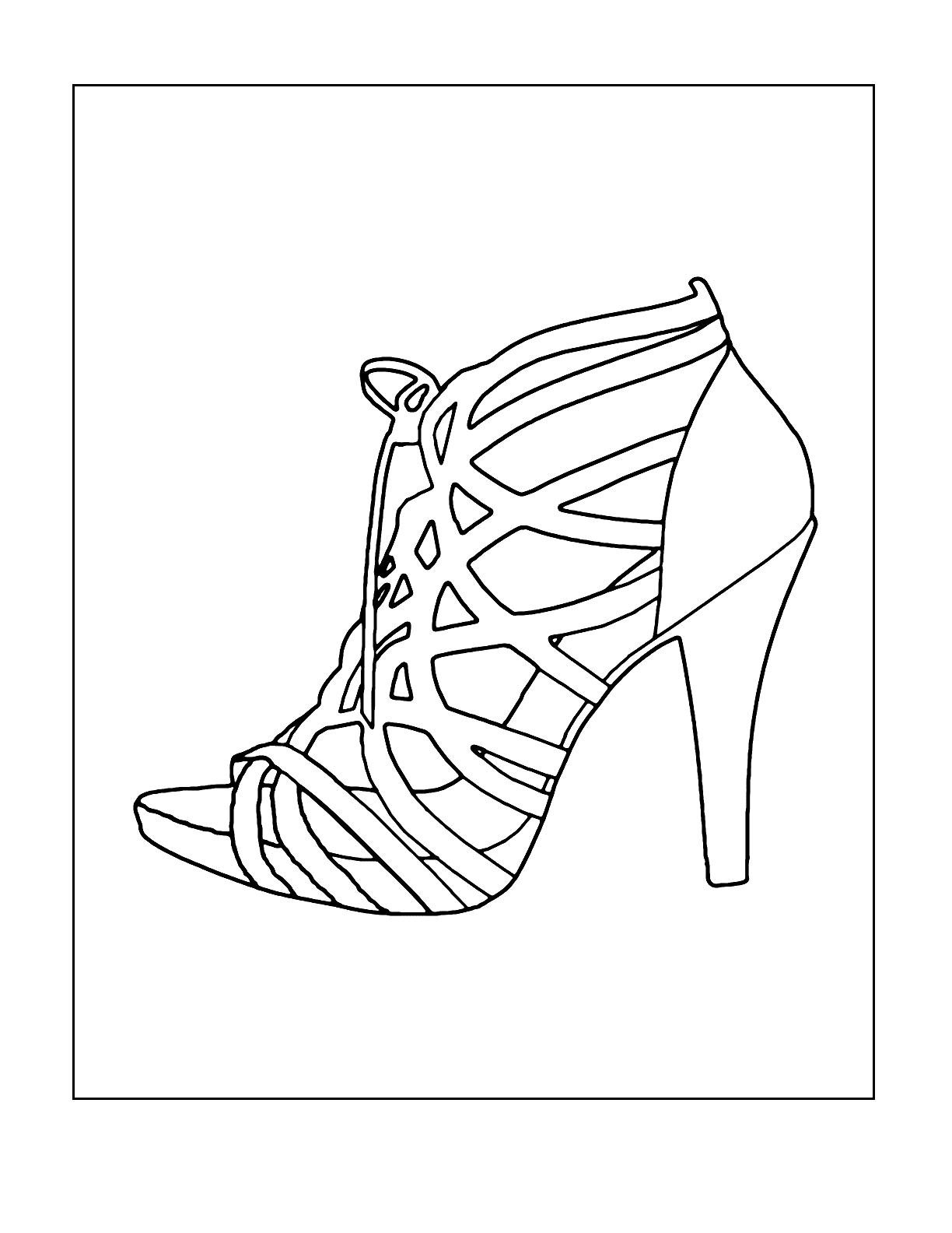 Womens Strappy High Heel Shoe Coloring Page Coloring Rocks