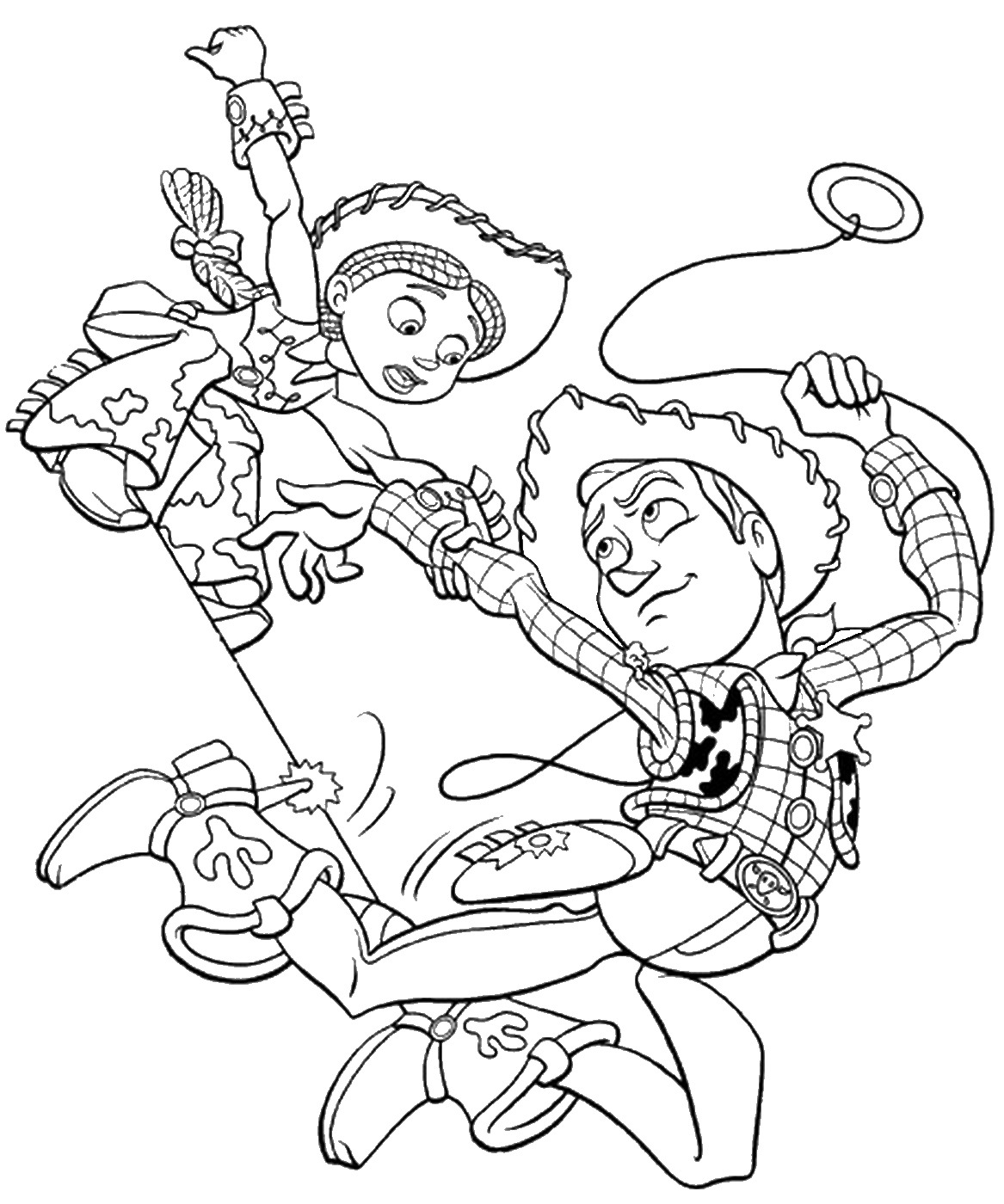 Woody and Jessie Action Toy Story Coloring Pages