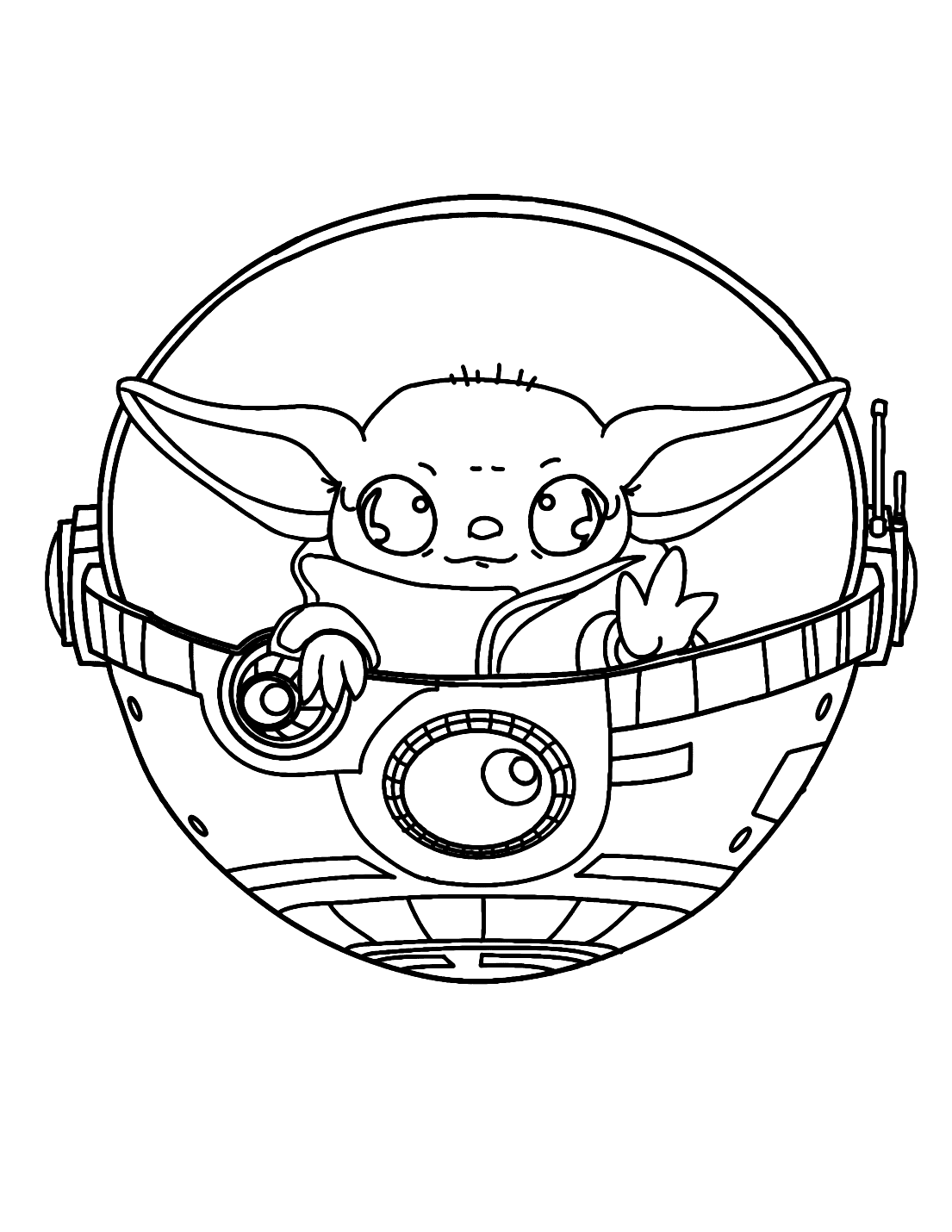 Yoda Baby Carriage Coloring Page