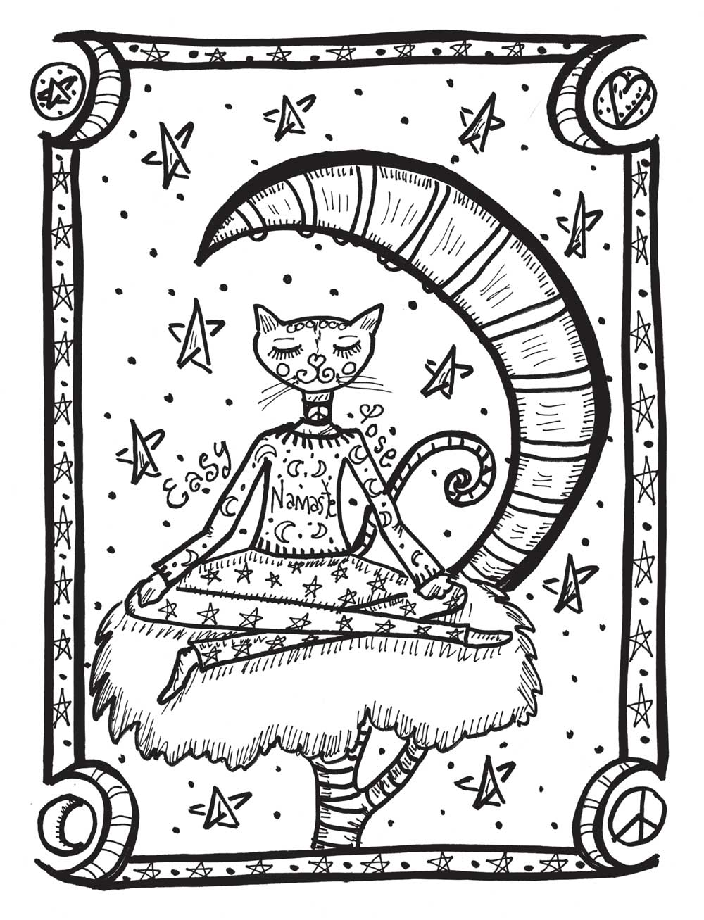 Yoga Cat Coloring Page