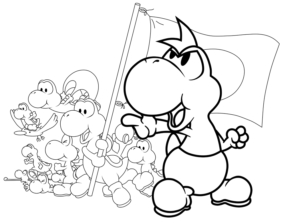 printable yoshi super mario coloring pages