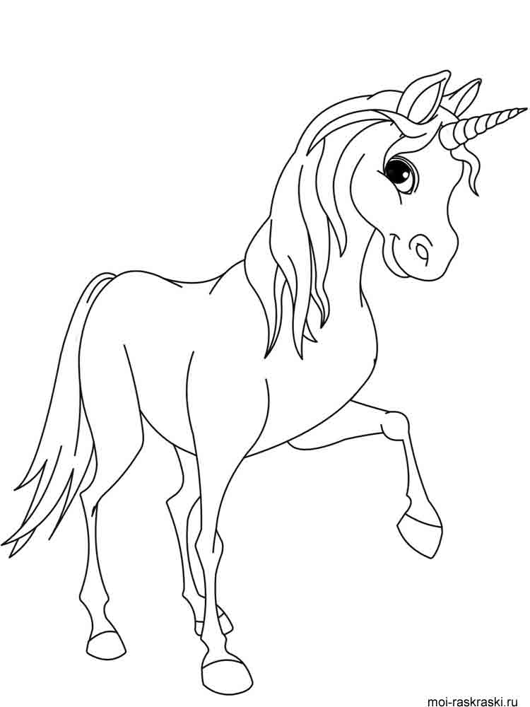 Young Unicorn Clipart Coloring Pages