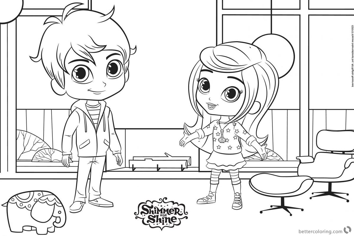 Zac and Leah Shimmer and Shine Coloring Pages