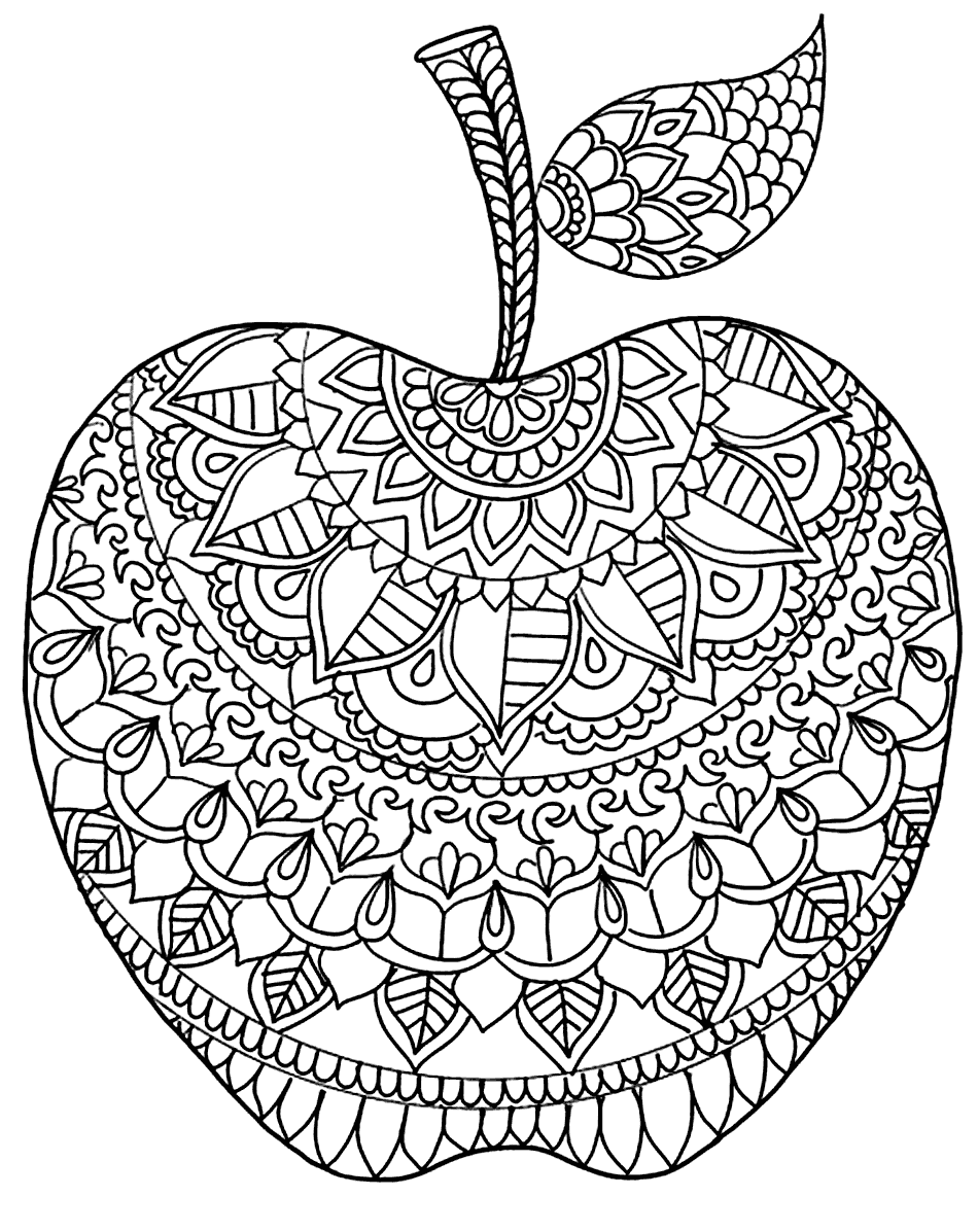 Zen Apple Coloring Pages for Adults