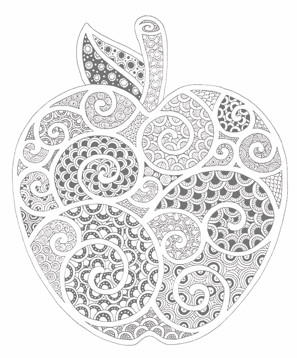 Zen Apple Grayed Coloring Page for Adults