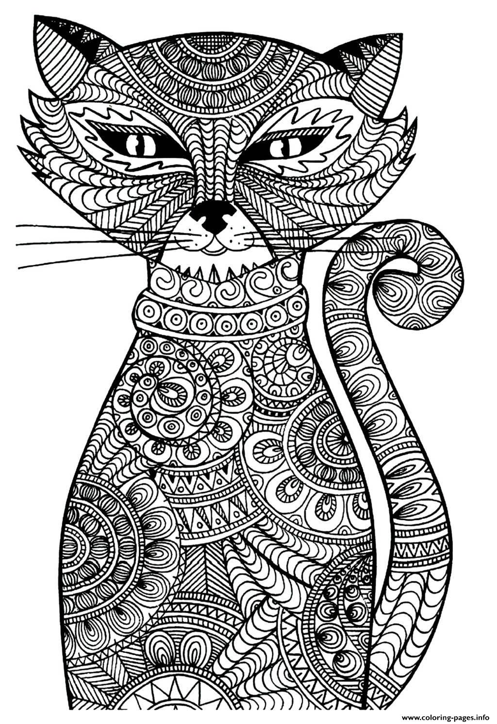 Zen Cat Coloring Page for Adults