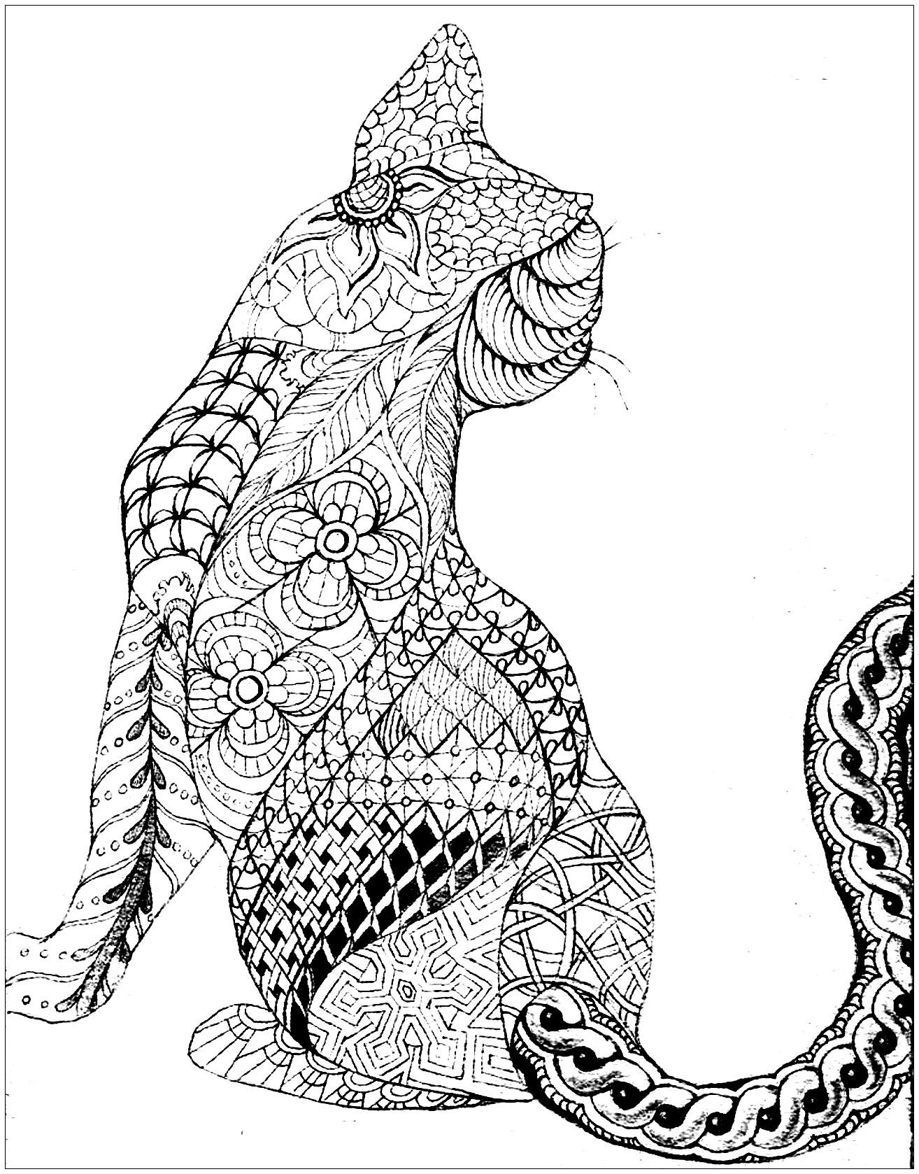 Zen Cat Design Coloring Page