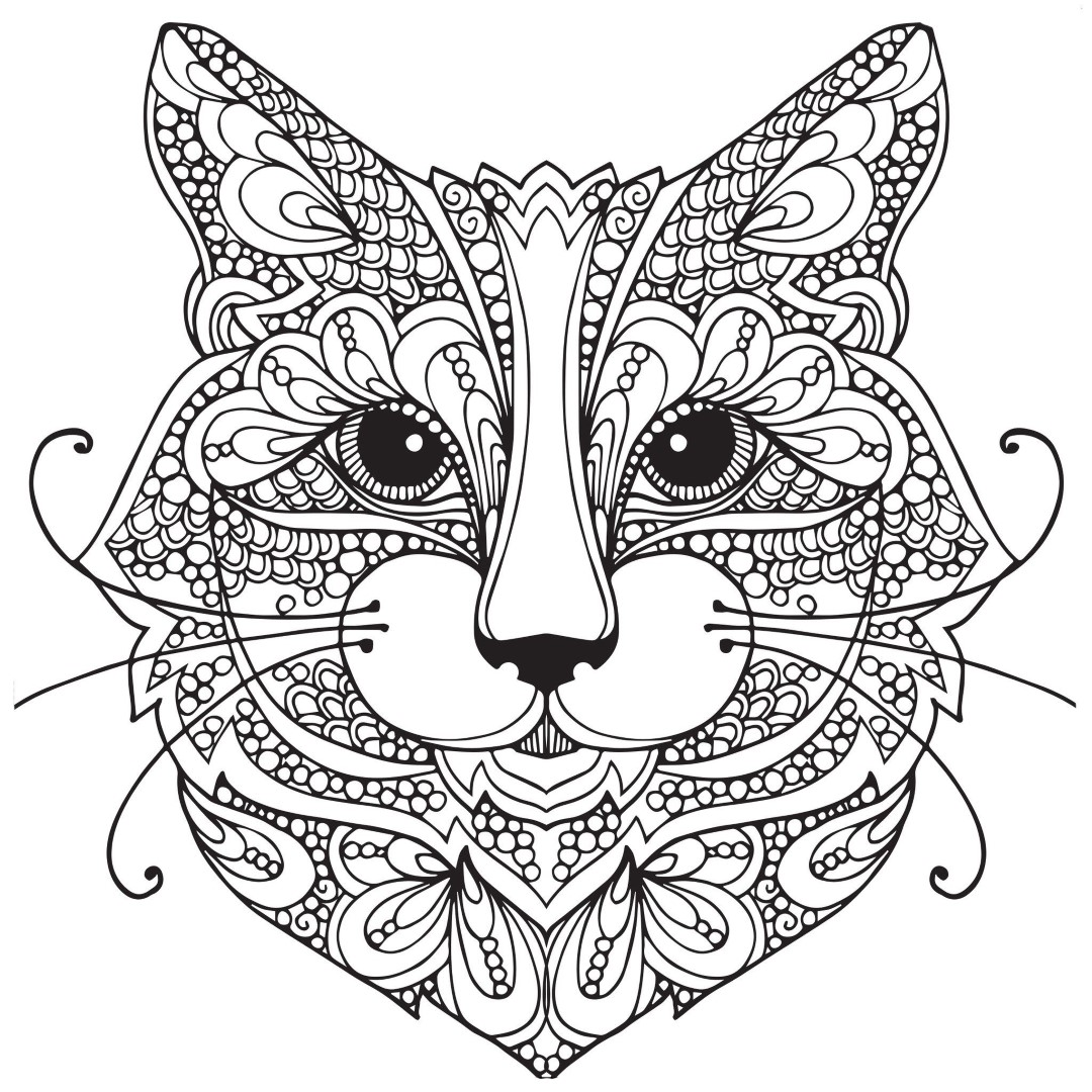 Zen Cat Face Coloring Page for Adults
