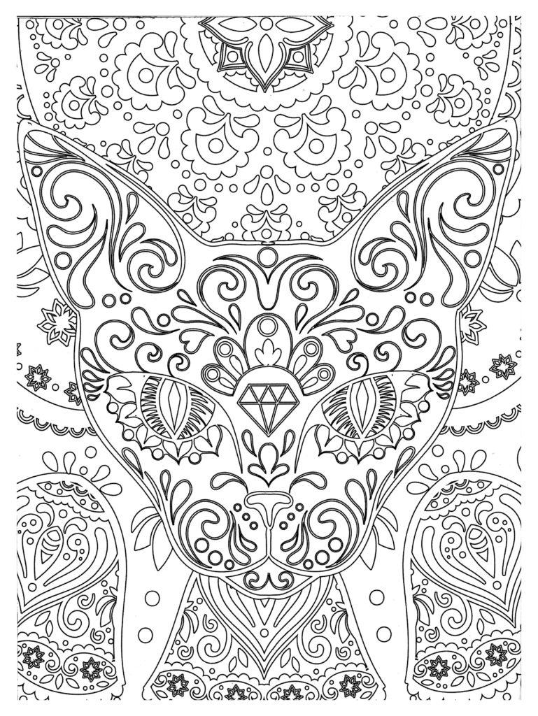 Zen Cat Head Coloring Page Complex