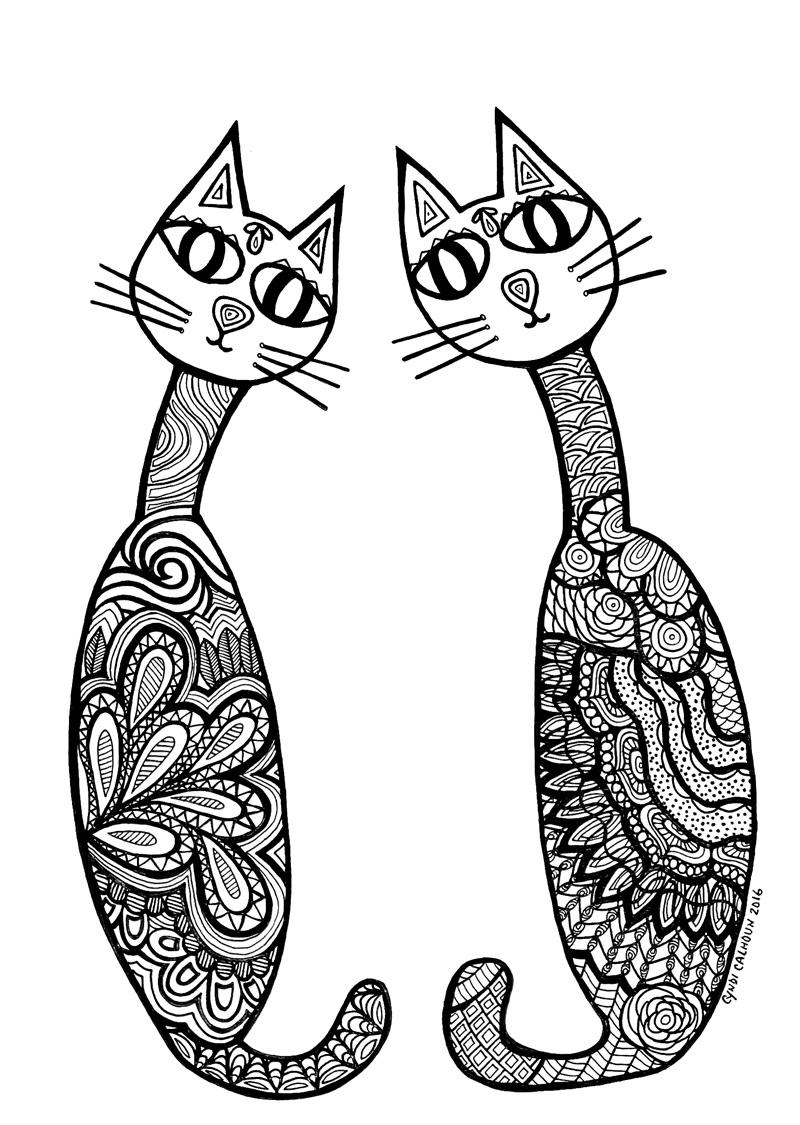 Zen Cat Pair Coloring Pages