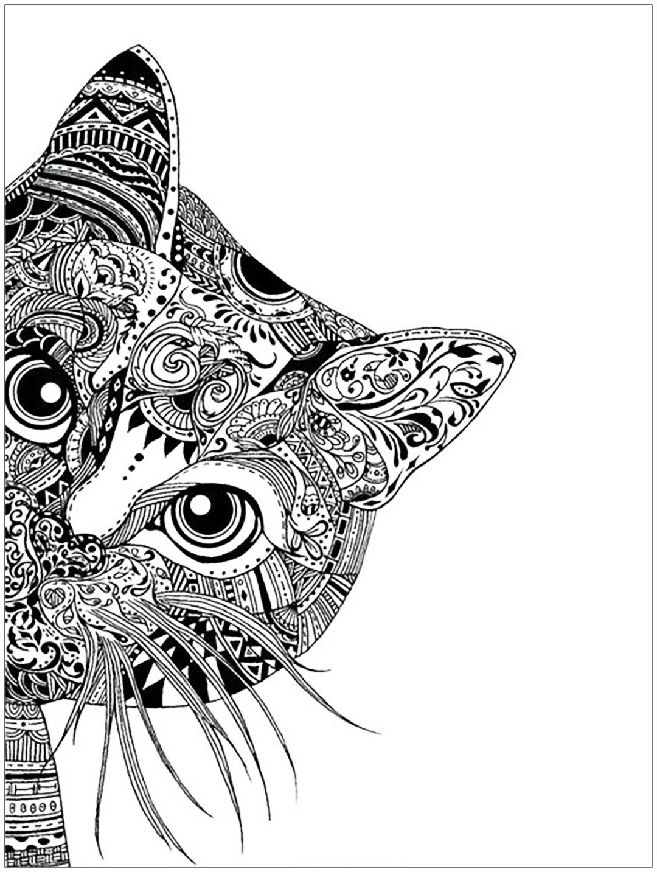 Zen Cat Peeking Coloring page for Adults