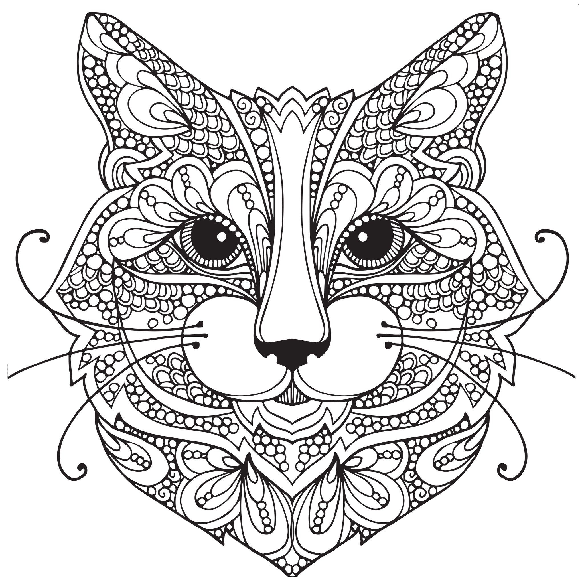 Zen Face Cat Coloring Pages for Adults
