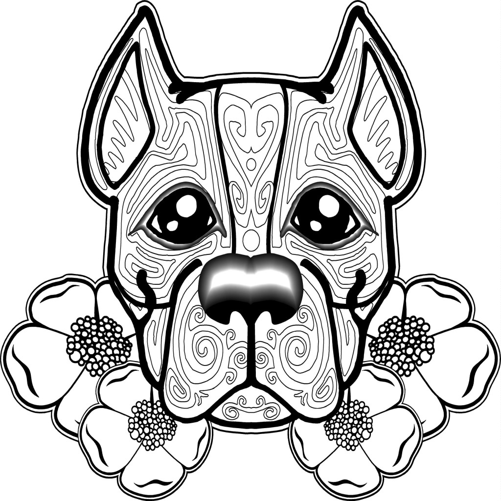 Zen Flowers Dog Coloring Page for Adults