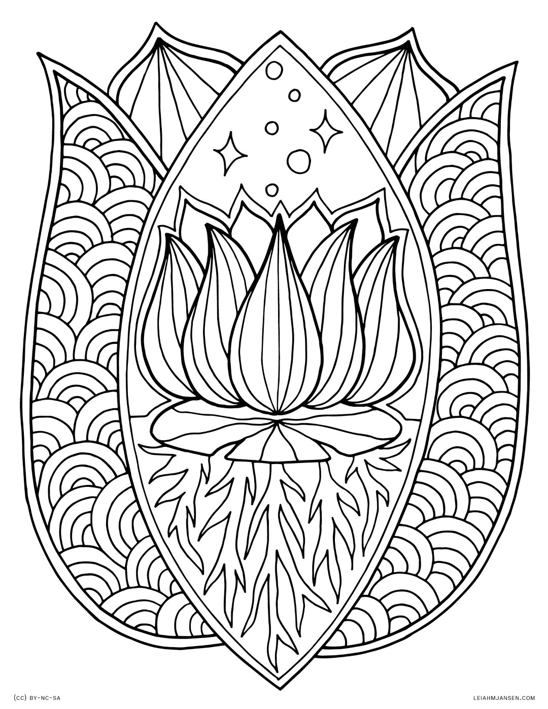 Zen Lotus Flower Coloring Page for Adults