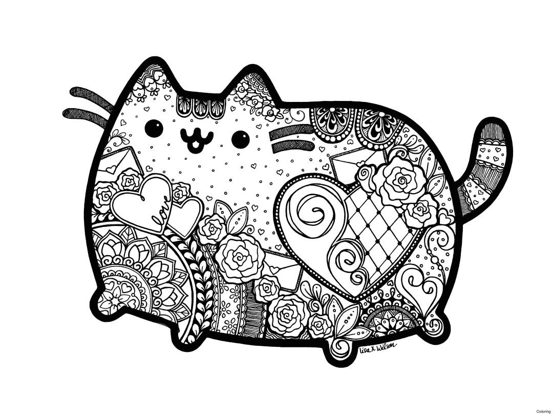 Zen Pusheen Cat Coloring Pages