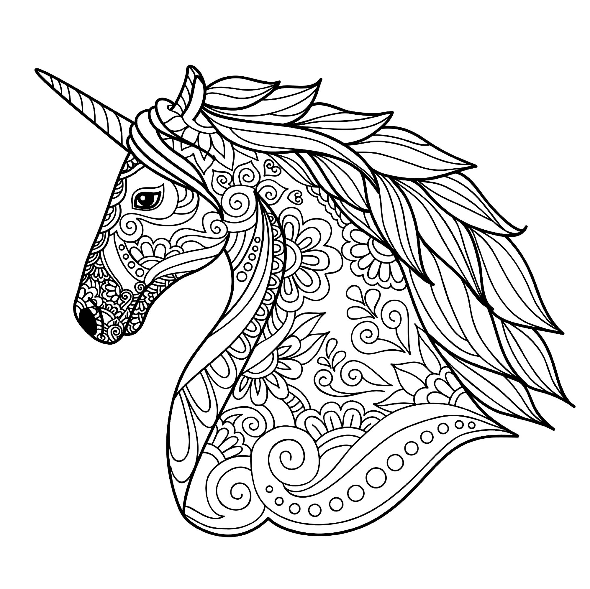 Zen Unicorn Head Coloring Page for Adults