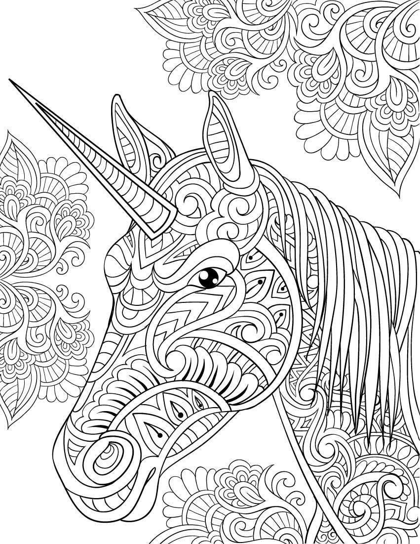 Zen Unicorn Head Pattern Coloring Page for Adults