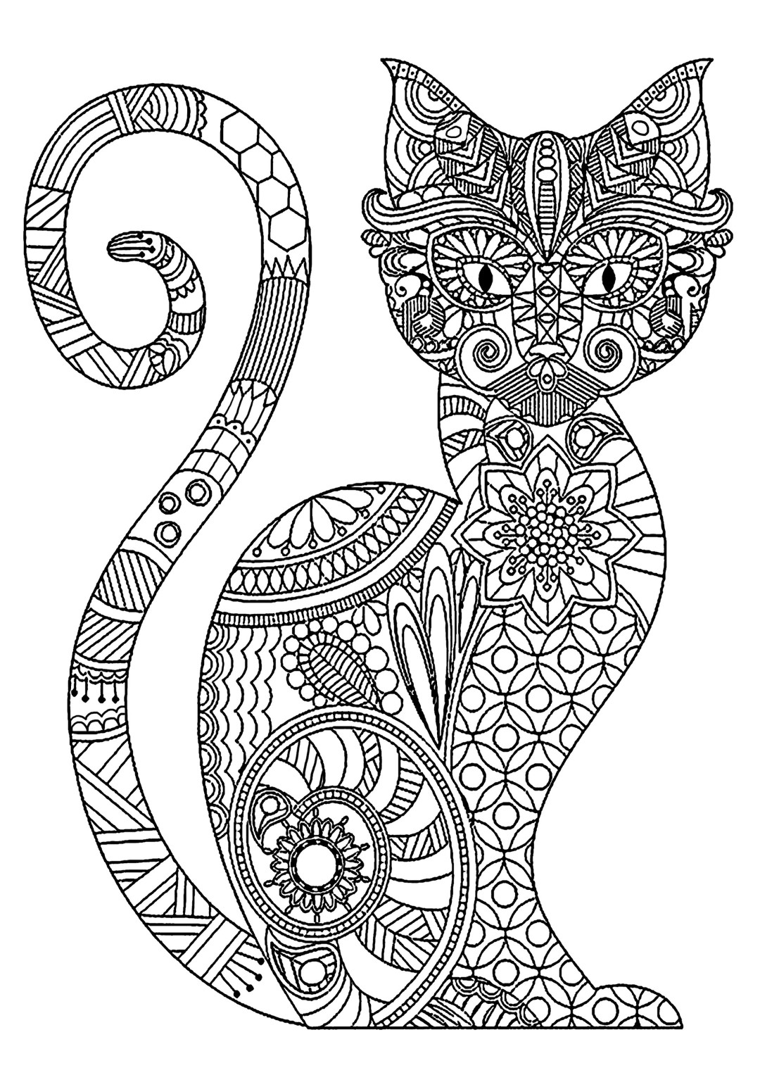 Zentangle Cat Coloring Page for Adults