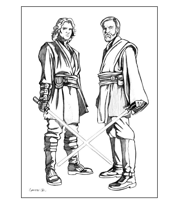 free printable coloring page of anakin skywalker and obe wan kenobi