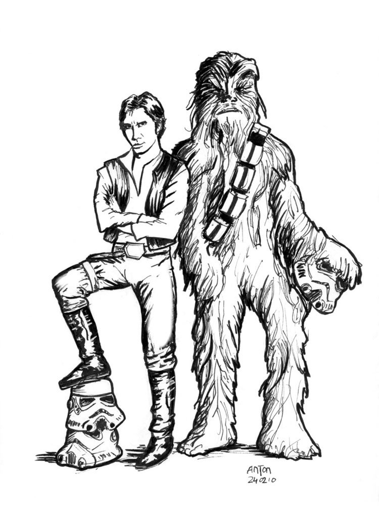 han solo and chewbacca coloring pages