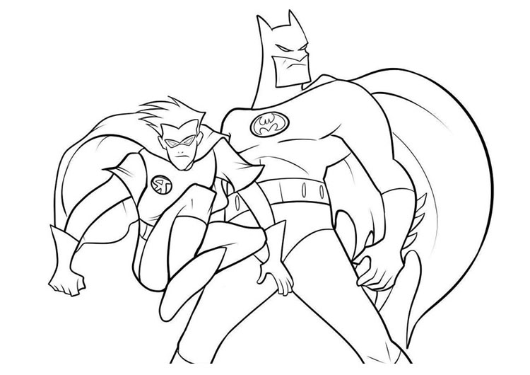 coloring batman and robin