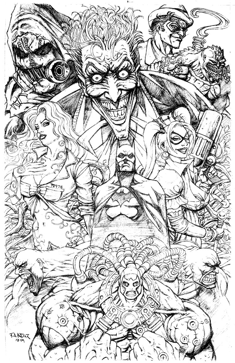 coloring pages batman and villians