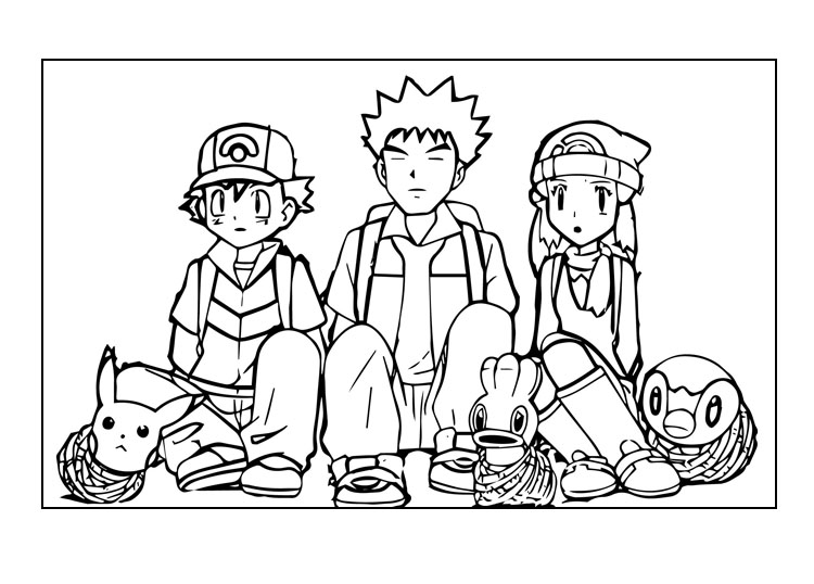 ash, brock and misty printable pokemon coloring page