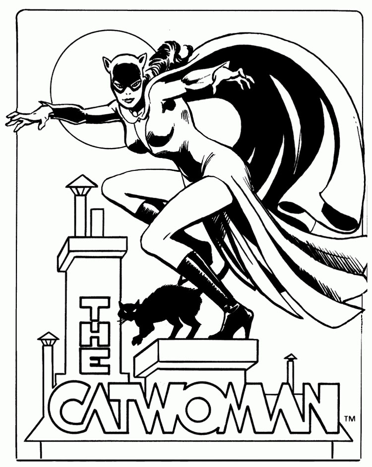 printable catwoman coloring pages