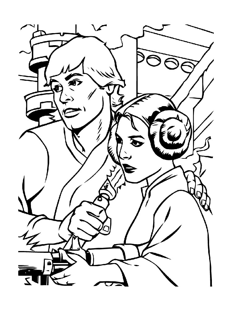 star wars coloring pages luke and leia